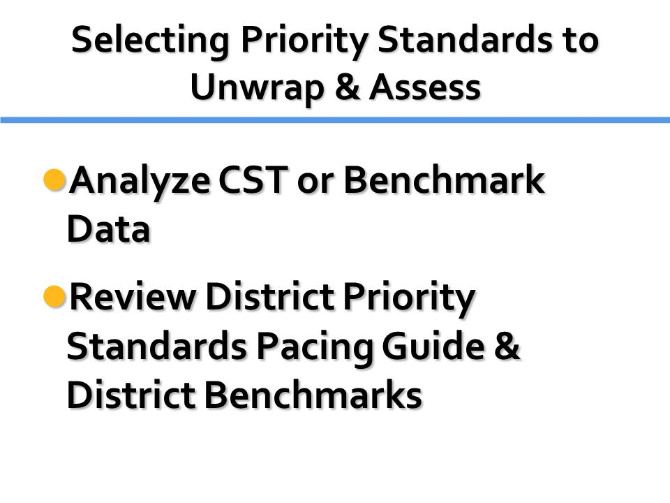 Selecting Priority Standards to Unwrap & Assess