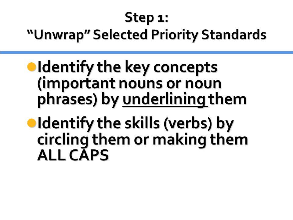 Step 1: Unwrap Selected Priority Standards