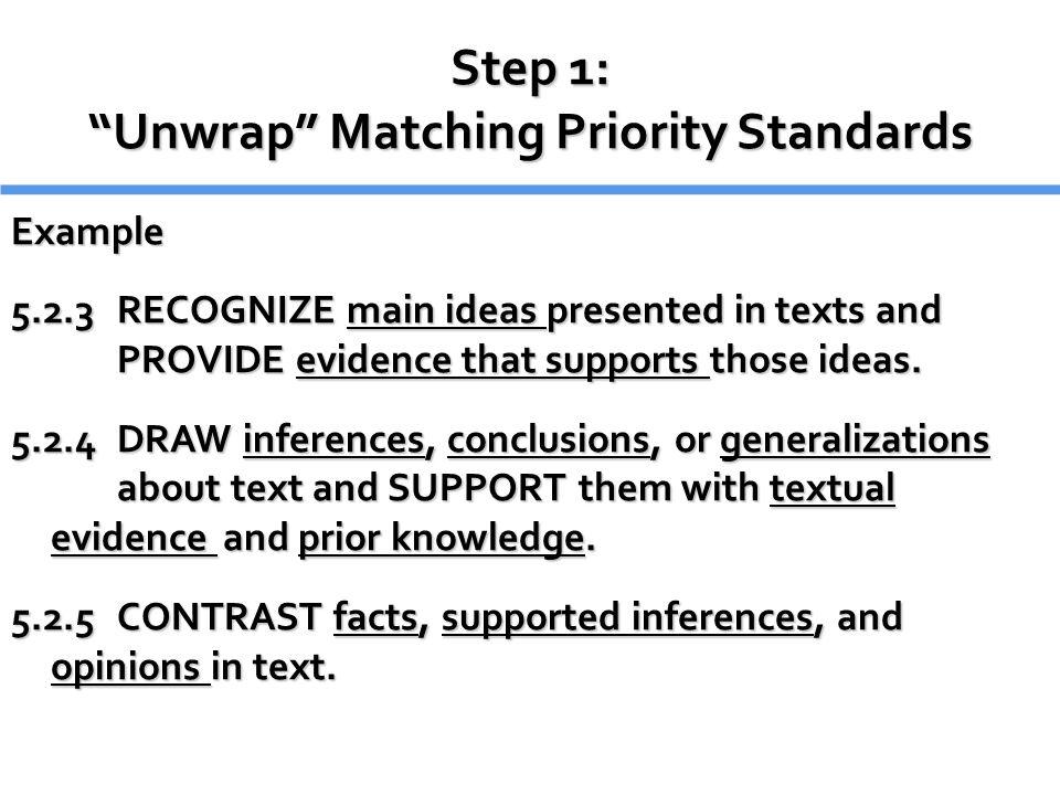 Step 1: Unwrap Matching Priority Standards