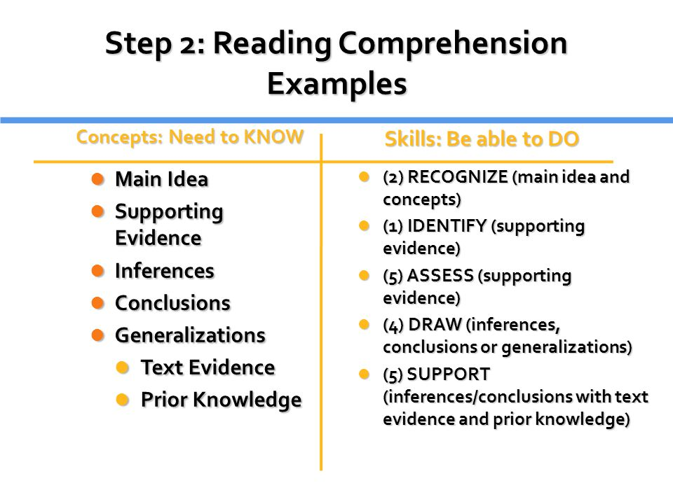 Step 2: Reading Comprehension Examples
