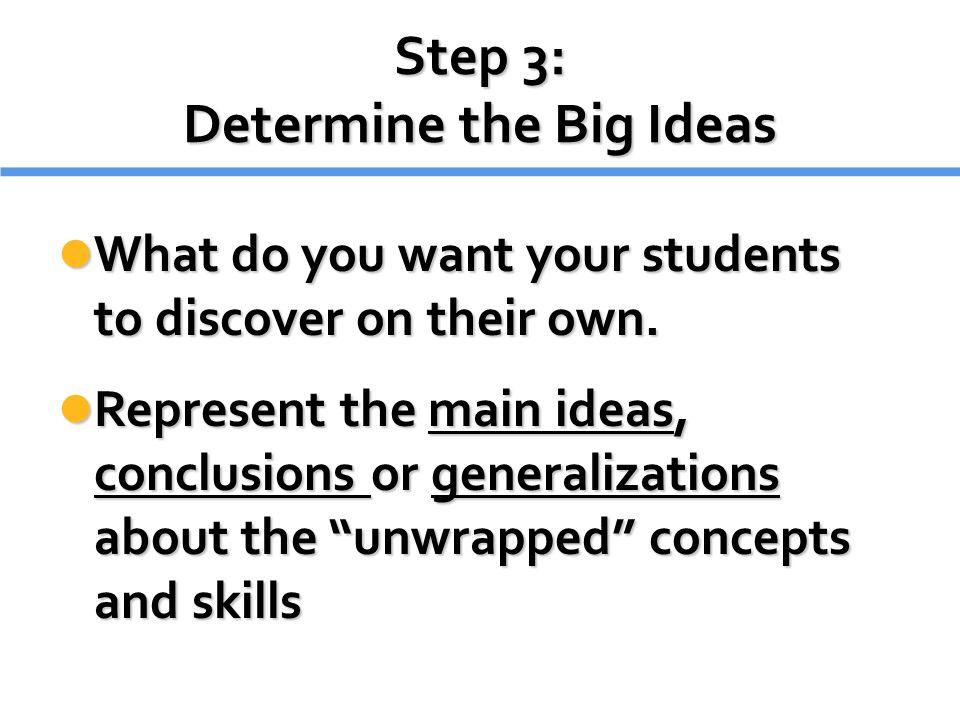 Step 3: Determine the Big Ideas
