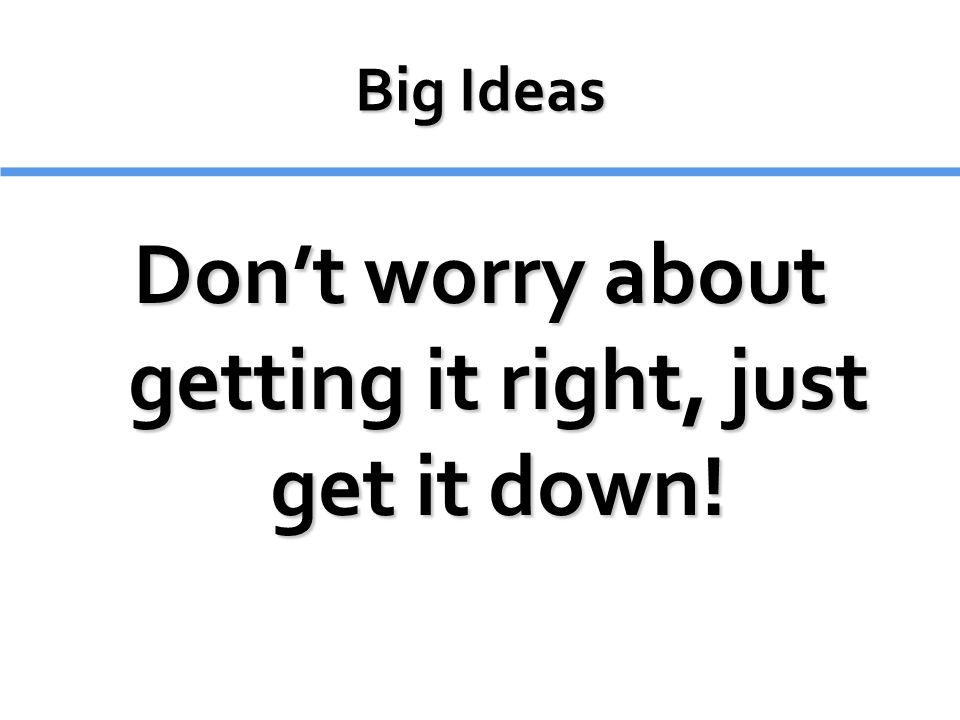Don't worry about getting it right, just get it down!