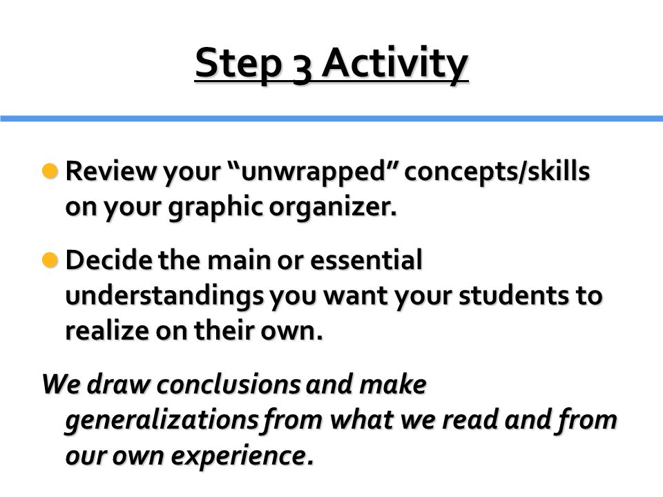 Step 3 Activity Review your unwrapped concepts/skills on your graphic organizer.