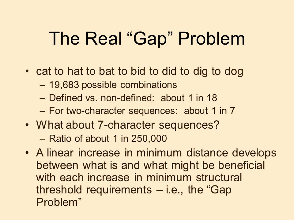 The Real Gap Problem cat to hat to bat to bid to did to dig to dog