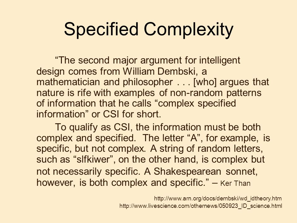 Specified Complexity