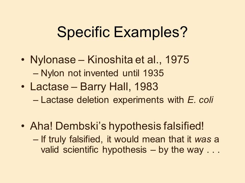 Specific Examples Nylonase – Kinoshita et al., 1975