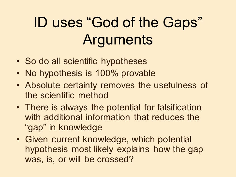 ID uses God of the Gaps Arguments