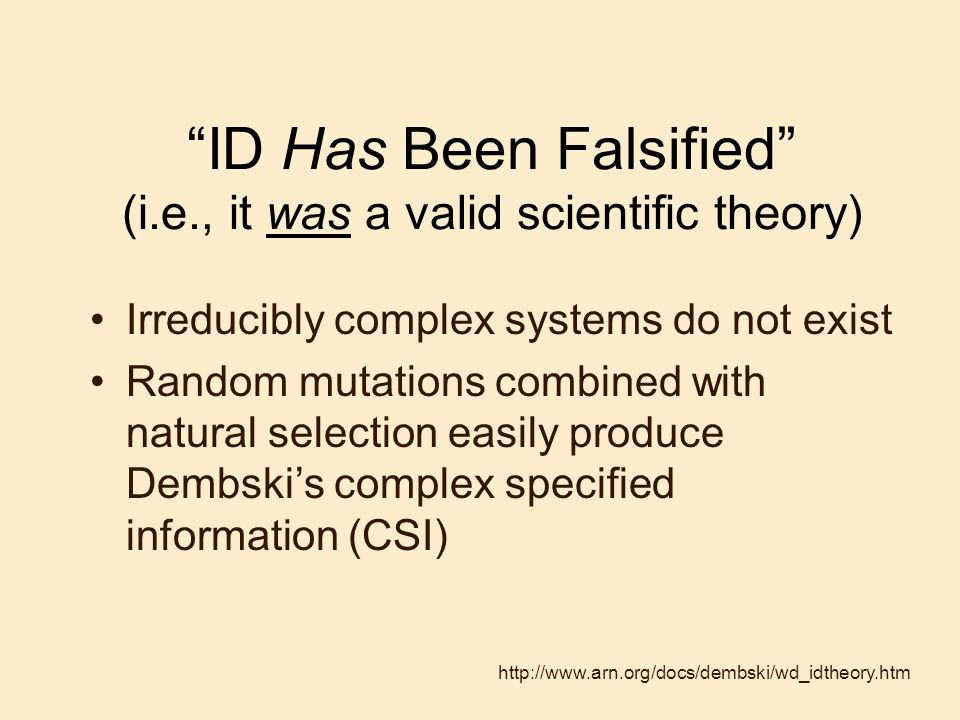 ID Has Been Falsified (i.e., it was a valid scientific theory)