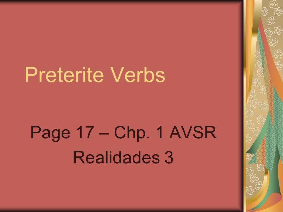 Page 17 – Chp. 1 AVSR Realidades 3