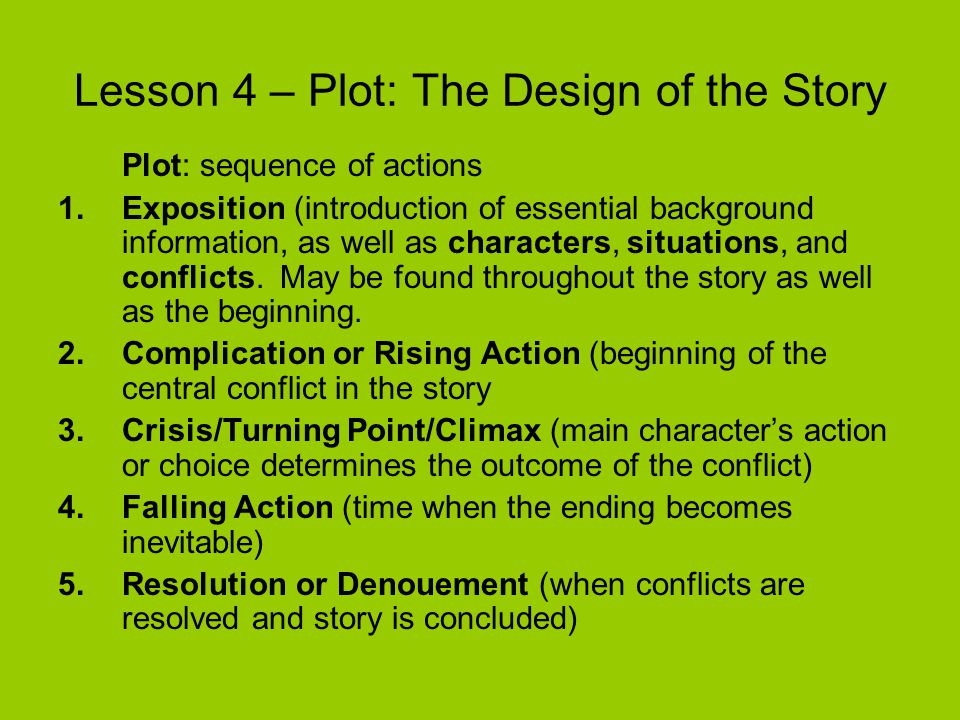 Lesson 4 – Plot: The Design of the Story