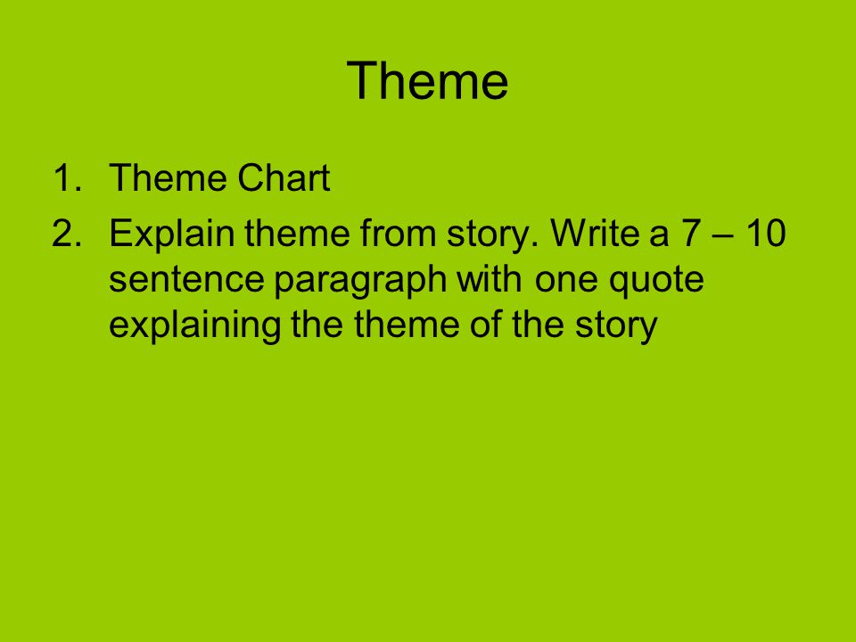 Theme Theme Chart. Explain theme from story.