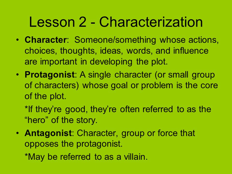 Lesson 2 - Characterization