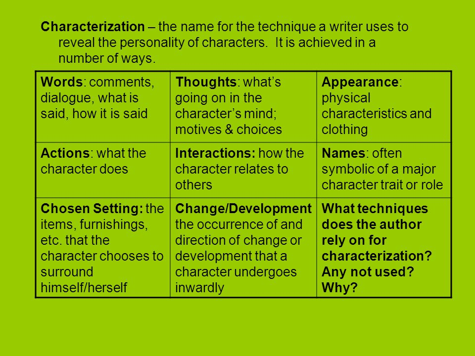 Characterization – the name for the technique a writer uses to reveal the personality of characters. It is achieved in a number of ways.