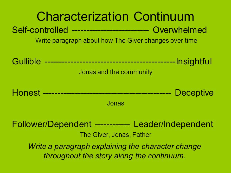 Characterization Continuum