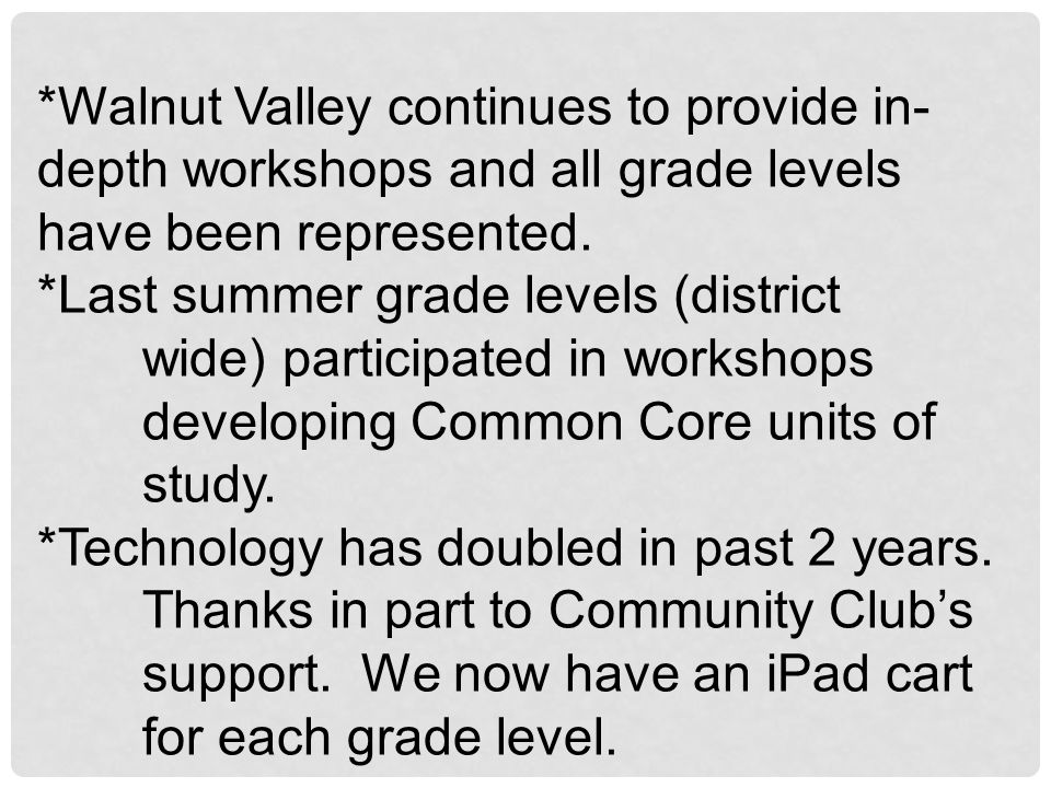 *Walnut Valley continues to provide in-depth workshops and all grade levels have been represented.