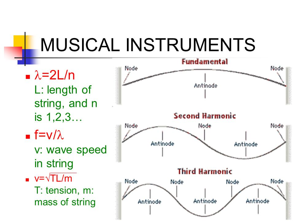 MUSICAL INSTRUMENTS l=2L/n L: length of string, and n is 1,2,3…