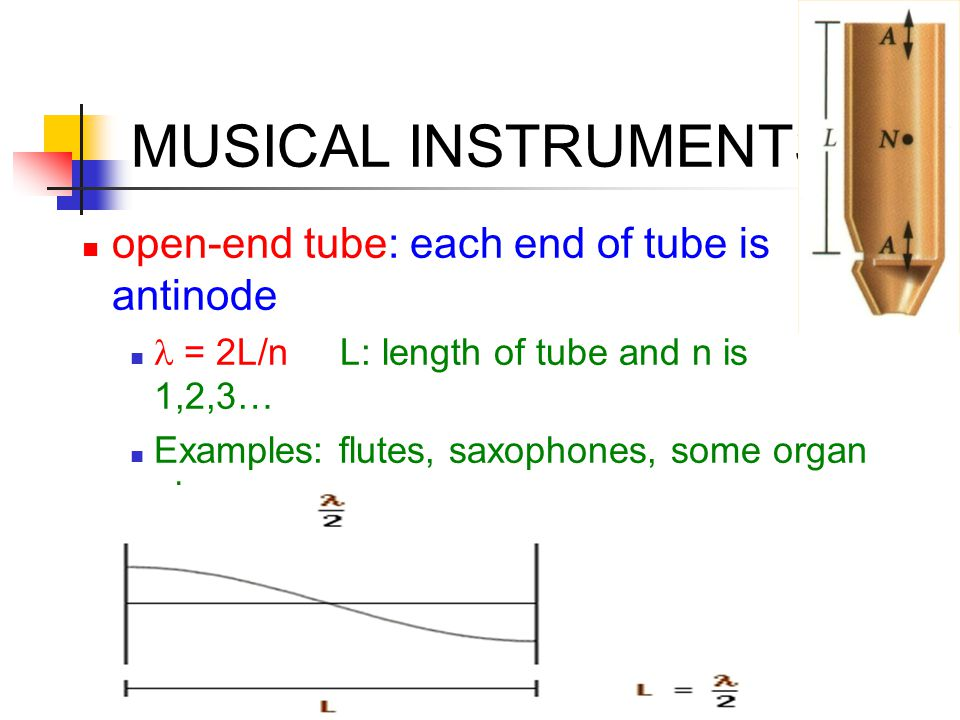 MUSICAL INSTRUMENTS open-end tube: each end of tube is antinode