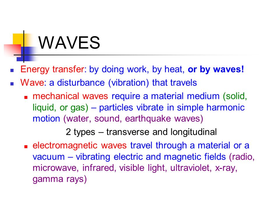 WAVES Energy transfer: by doing work, by heat, or by waves!