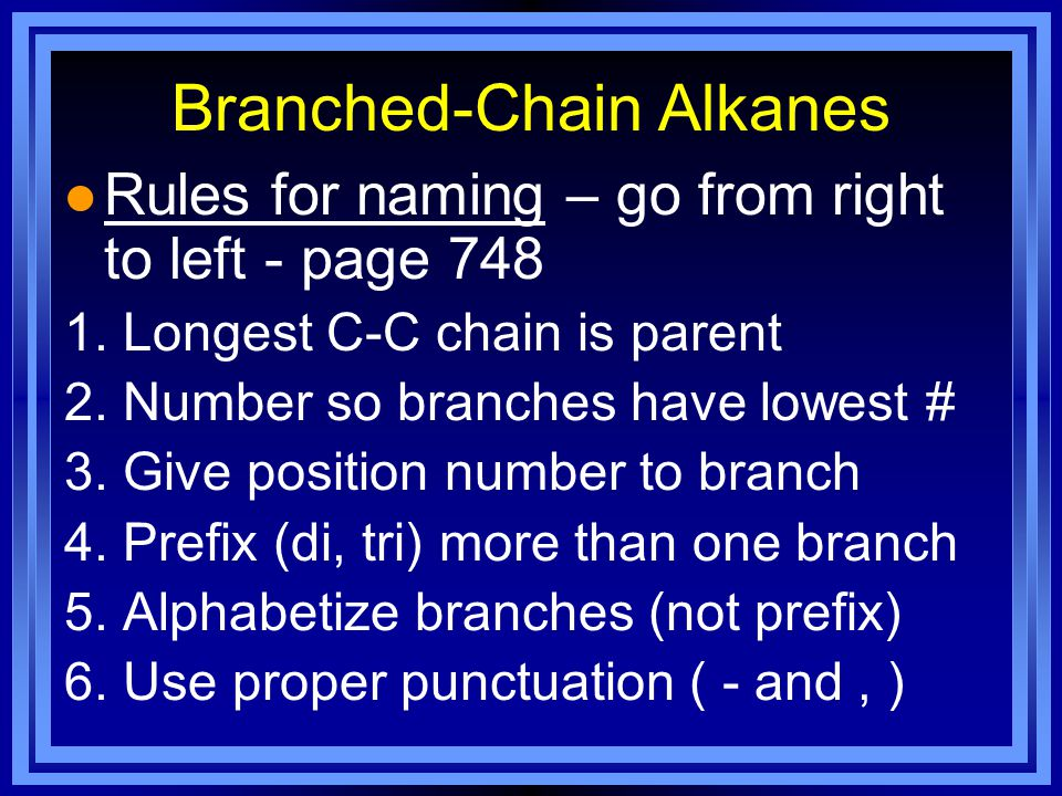 Branched-Chain Alkanes