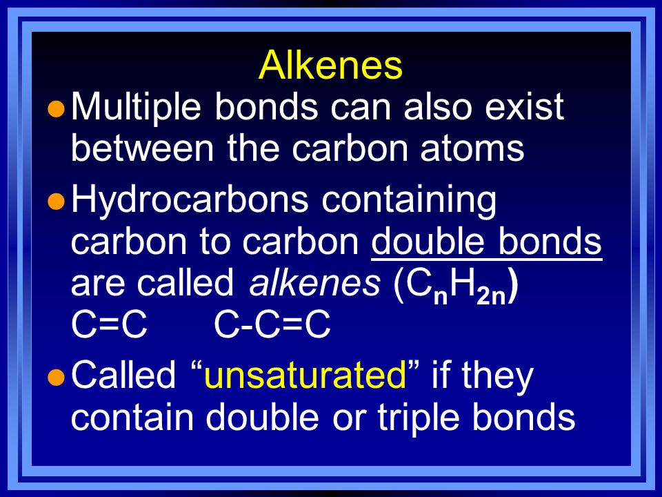Alkenes Multiple bonds can also exist between the carbon atoms