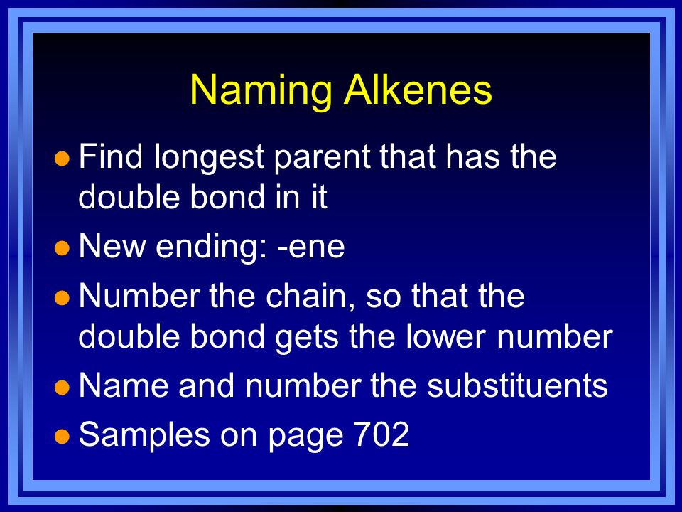 Naming Alkenes Find longest parent that has the double bond in it