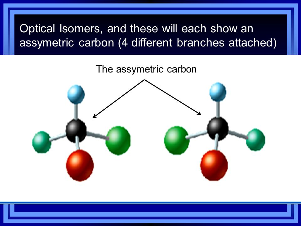 Optical Isomers, and these will each show an assymetric carbon (4 different branches attached)