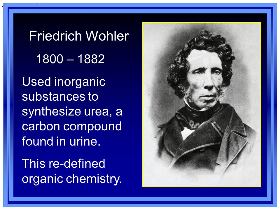 Friedrich Wohler 1800 – 1882. Used inorganic substances to synthesize urea, a carbon compound found in urine.