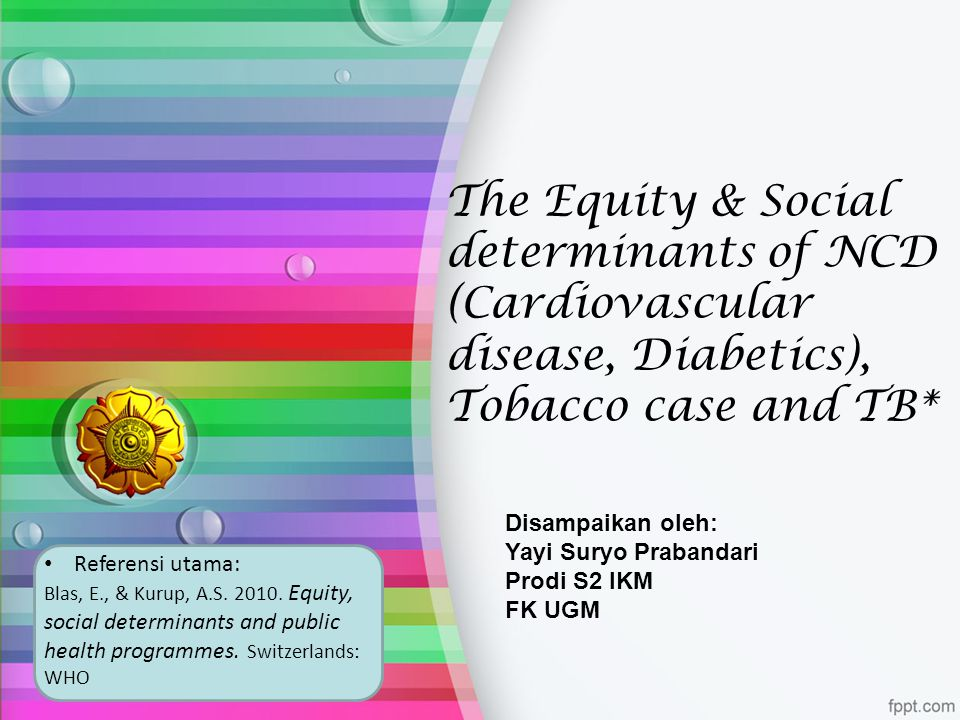 The Equity & Social determinants of NCD (Cardiovascular disease, Diabetics), Tobacco case and TB*