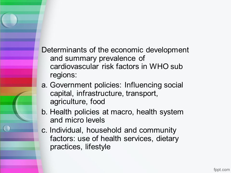 Determinants of the economic development and summary prevalence of cardiovascular risk factors in WHO sub regions: