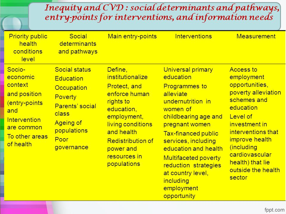 Inequity and CVD : social determinants and pathways, entry-points for interventions, and information needs