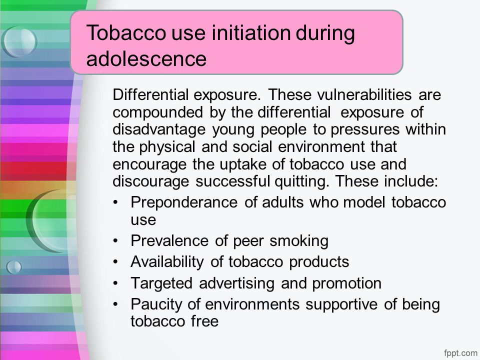Tobacco use initiation during adolescence