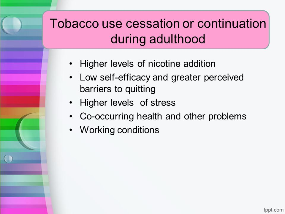 Tobacco use cessation or continuation during adulthood
