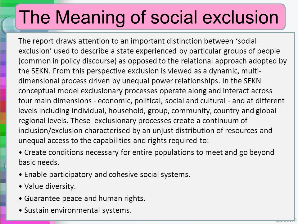 The Meaning of social exclusion