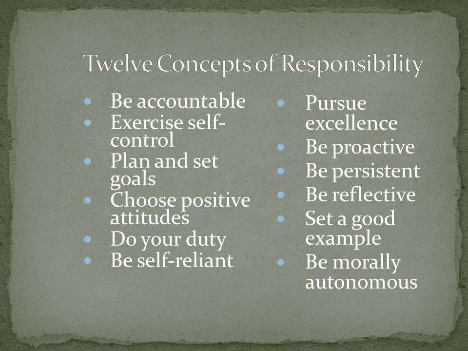 Twelve Concepts of Responsibility