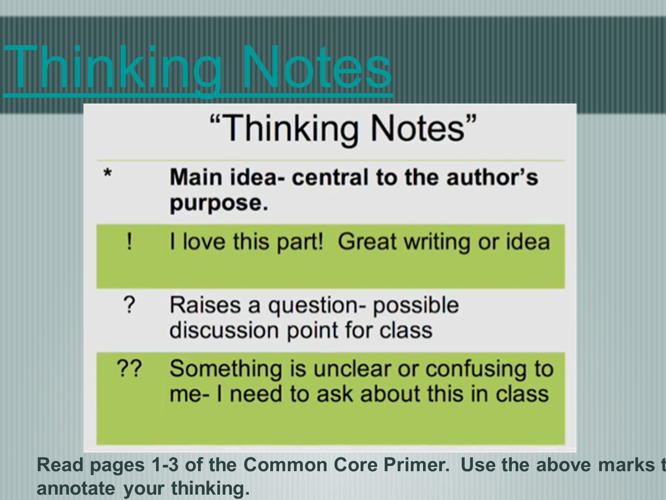 Thinking Notes Read pages 1-3 of the Common Core Primer.