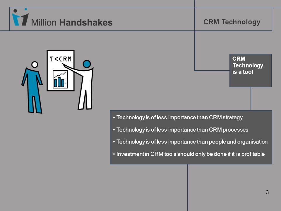 CRMTechnology. is a tool. Technology is of less importance than CRM strategy. Technology is of less importance than CRM processes.