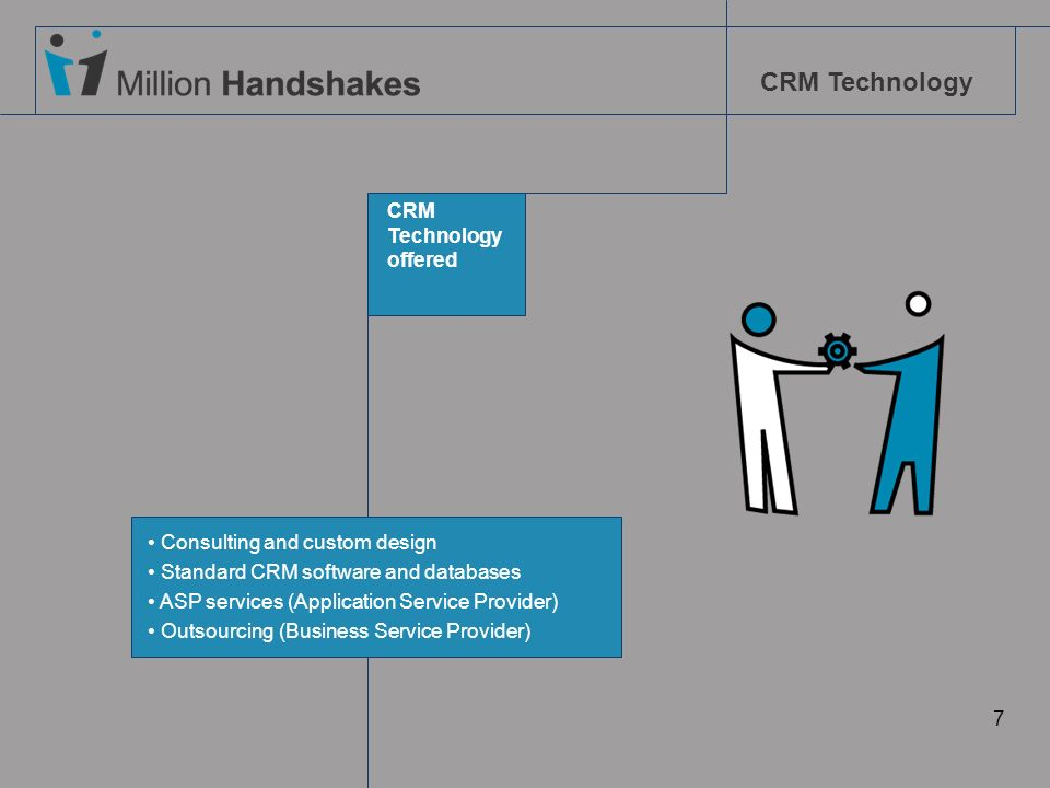 CRM Technology. offered. Consulting and custom design. Standard CRM software and databases. ASP services (Application Service Provider)