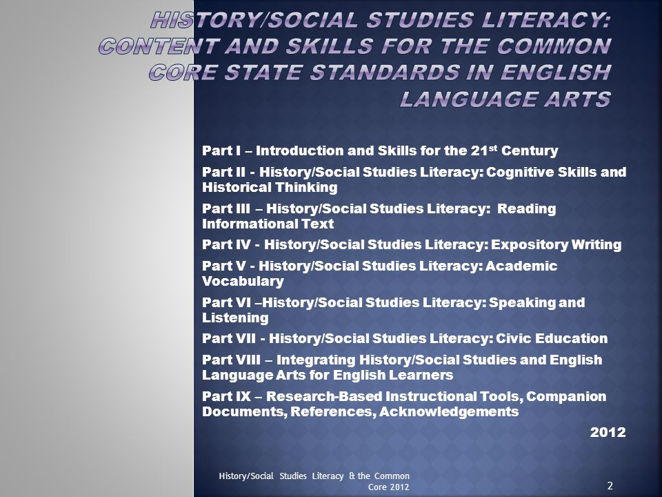 History/Social Studies Literacy: Content and Skills for the Common Core State Standards in English Language Arts