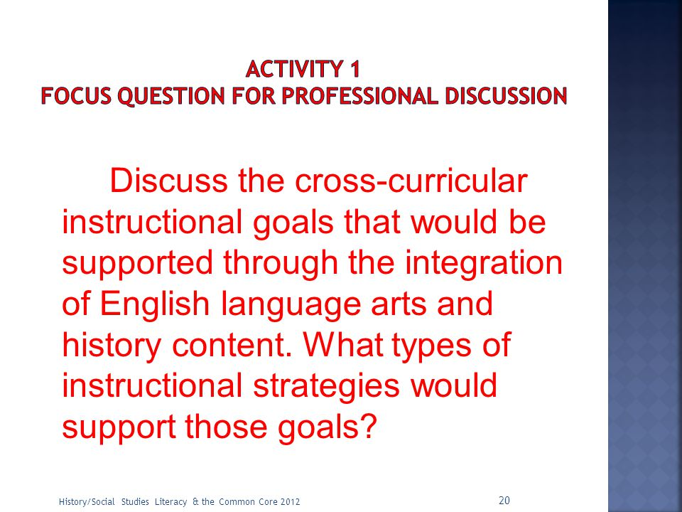 ACTIVITY 1 Focus Question for Professional Discussion