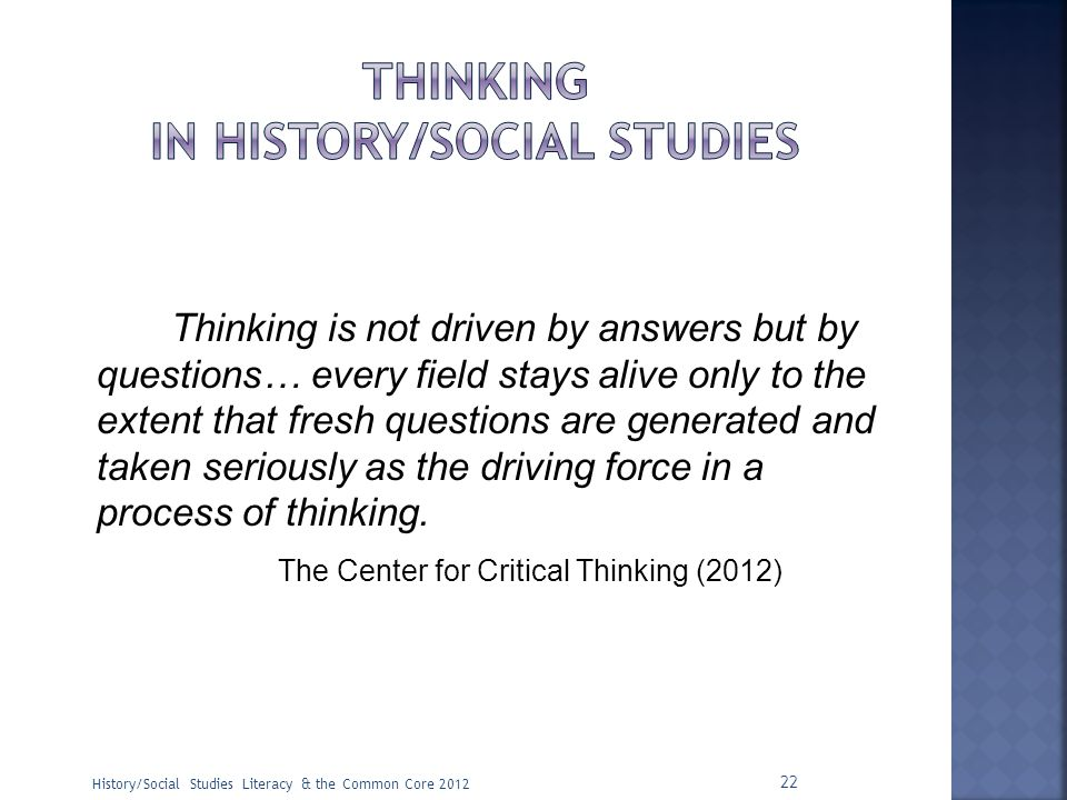 thinking in history/social studies