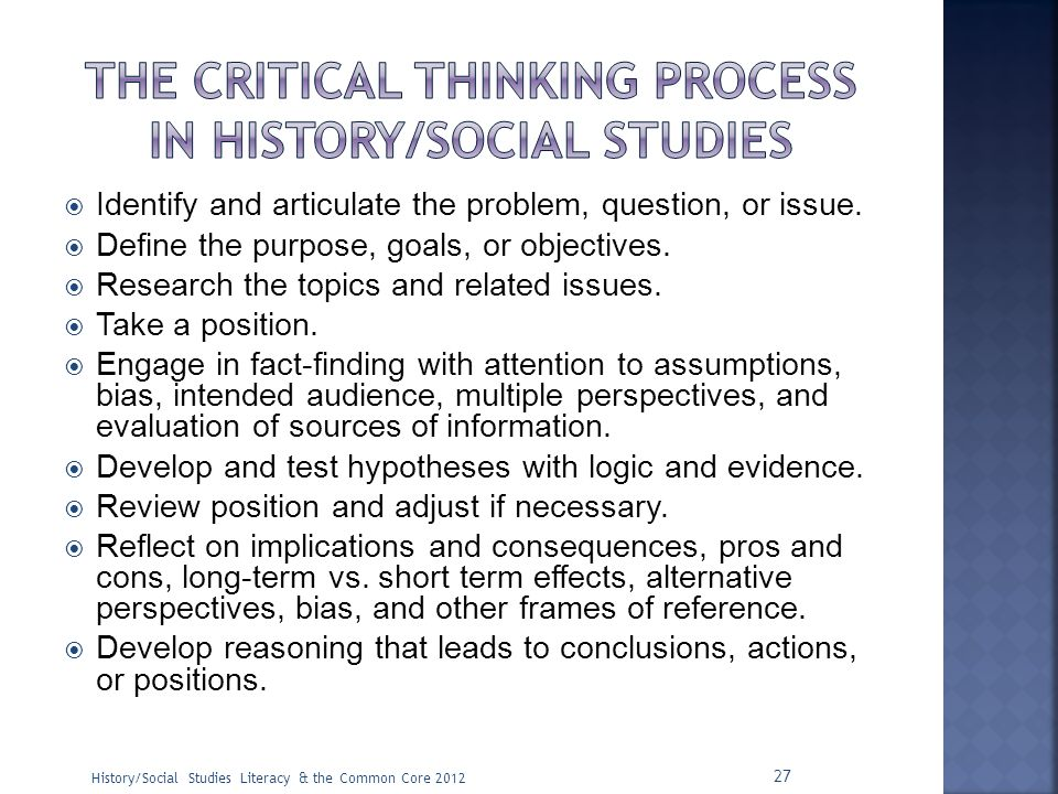 The Critical Thinking process in history/social studies