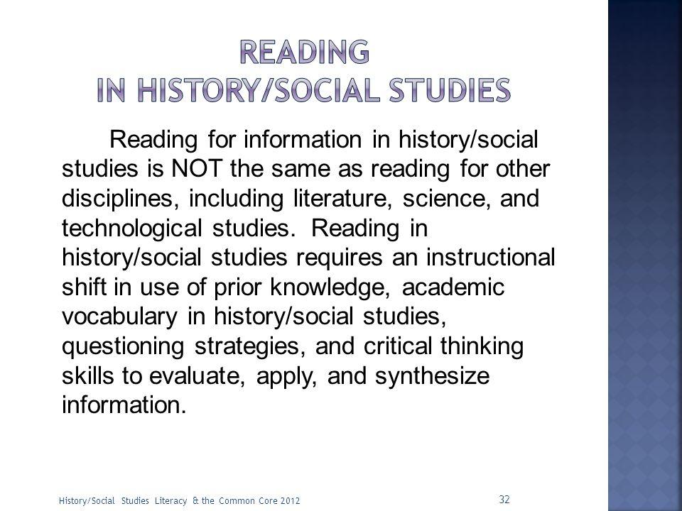 Reading in History/social studies