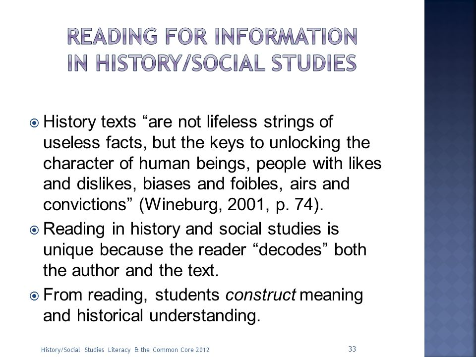Reading for information in history/social studies