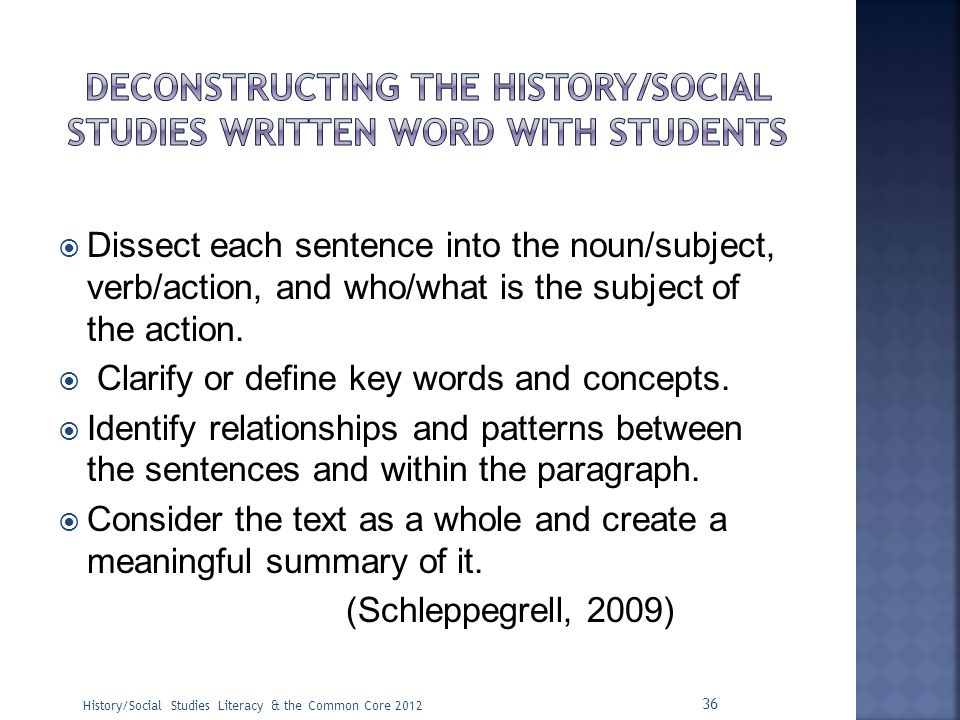 Deconstructing the history/social studies written word with students