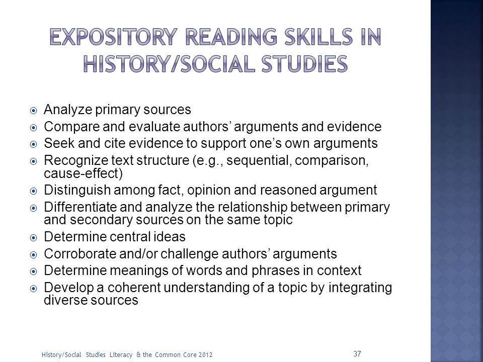 Expository Reading skills in history/social studies