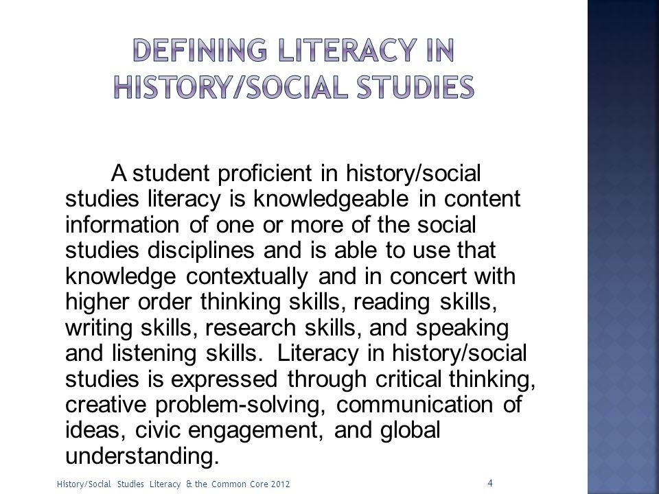 Defining literacy in history/social studies