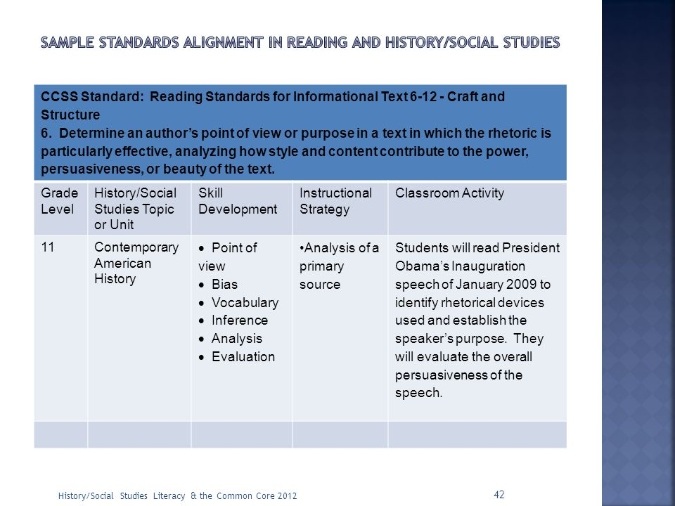 Sample Standards alignment in reading and history/social studies