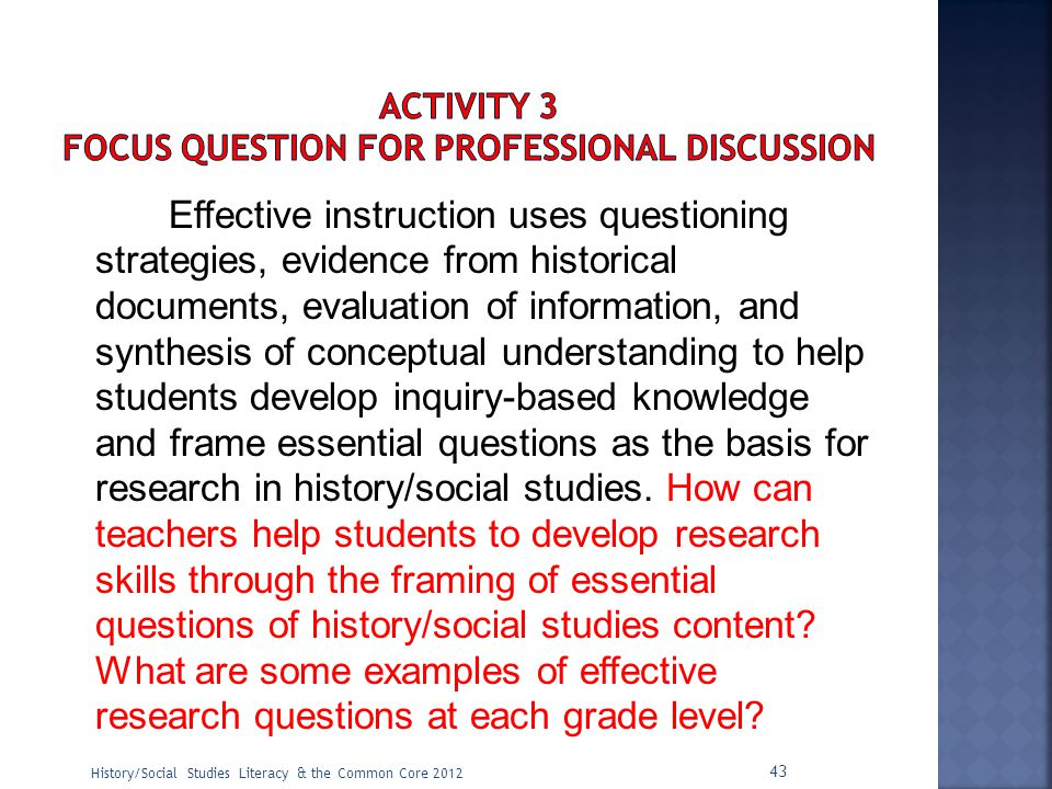ACTIVITY 3 Focus Question for Professional Discussion