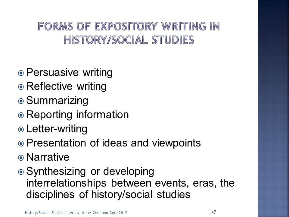 Forms of Expository Writing in history/social studies