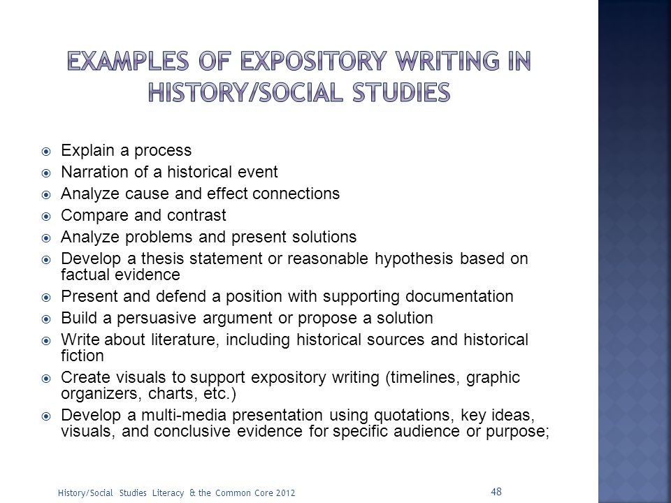 Examples of expository writing in history/social studies